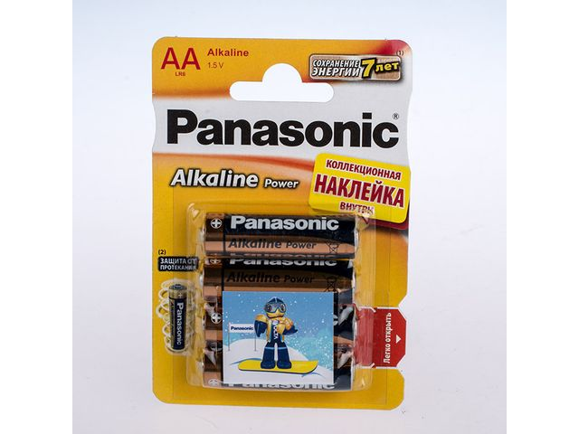 Батарейка Panasonic Alkaline Power BRONZE LR6 BL-4 АА /со стикером/ /4/48/240/ (шт.)
