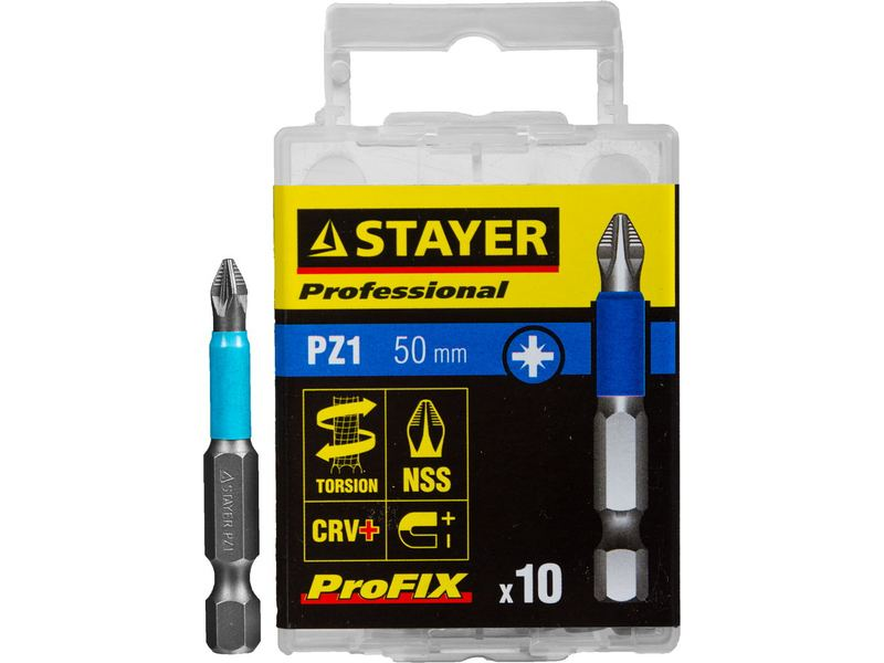 Биты STAYER PROFESSIONAL ProFix Pozidriv, тип хвостовика E 1/4 , № 1, L 50мм, 10шт