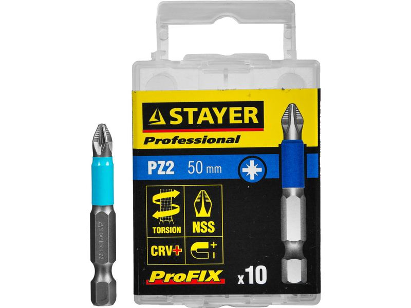 Биты STAYER PROFESSIONAL ProFix Pozidriv, тип хвостовика E 1/4 , № 2, L 50мм, 10шт