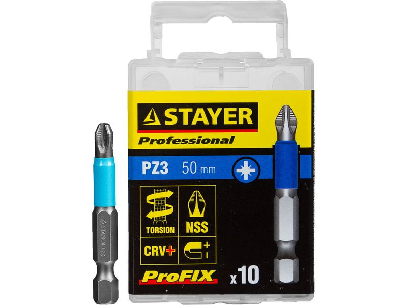 Биты STAYER PROFESSIONAL ProFix Pozidriv, тип хвостовика E 1/4 , № 3, L 50мм, 10шт