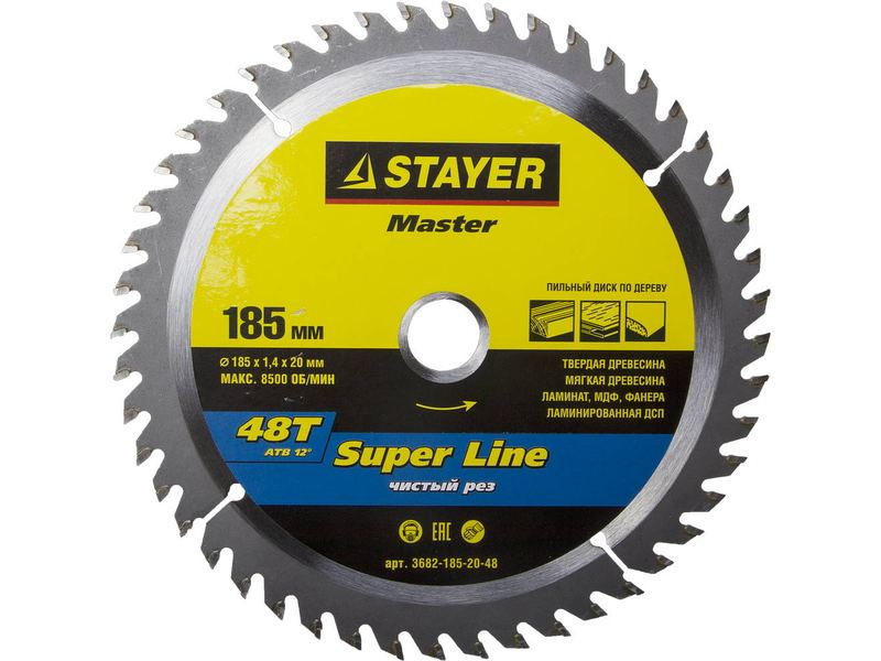 "Диск пильный STAYER ""MASTER"" ""SUPER-Line"" по дереву, 185x20мм, 48Т"