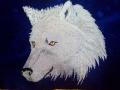 Ламбрекен лобового стекла с боковыми уголками Волк 3 рисунка, синий