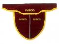 Ламбрекен лобового стекла IVECO с косынками, двойной, красный