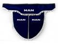Ламбрекен лобового стекла MAN с косынками, двойной, синий