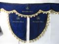 Ламбрекен лобового стекла MERCEDES с косынками, двойной, синий